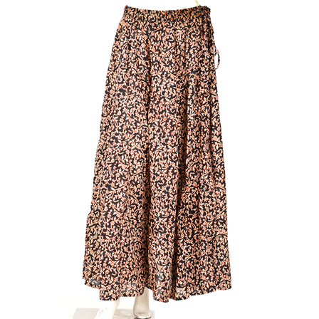 Black and White Flower Design  Block Print Cotton Long Skirt-23051