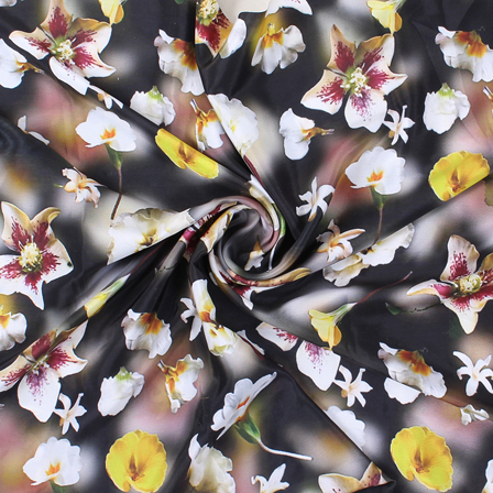 Black and White Flower Silk Crepe Fabric-18125