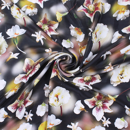 Black and White Flower Silk Crepe Fabric-18145