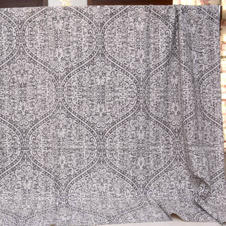 Black and White Handmade Flower Pattern Kantha Quilt-4371