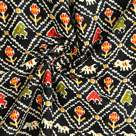 Black and White Kalamkari Cotton Fabric-10077