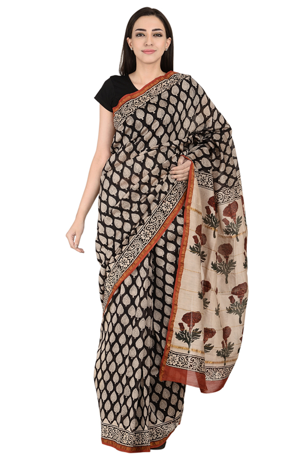 Black and White Leaf Design Block Print Chanderi Saree-20126
