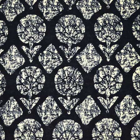 Black and White Sanganeri Block Print Cotton Fabric