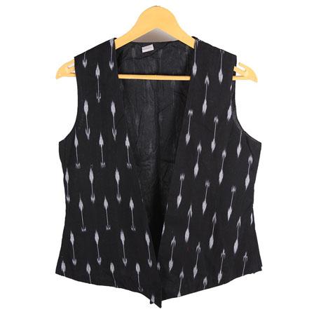 Black and White Sleeveless Ikat Cotton Koti Jacket-12232
