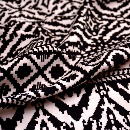 Black and White Unique Pattern Crepe Fabric-6002