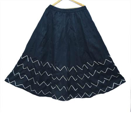 Black and White Zig Zag Design Dupion Silk Skirt-23003