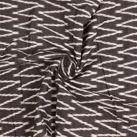 Black and White Zig Zag Ikat Print Cotton Fabric-12137