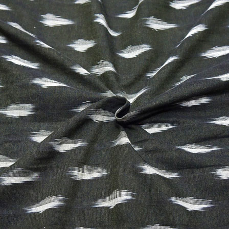 Black and White Zig Zag Pattern Ikat Fabric-12032