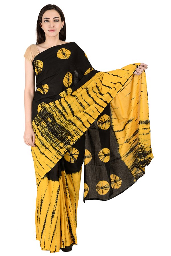 Black and Yellow Cotton Shibori Saree-20143