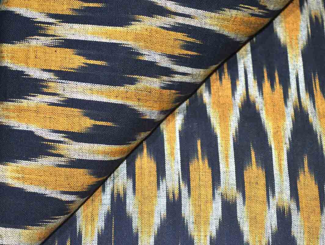 Black and Yellow Ikat Fabric