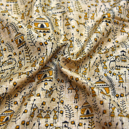 Black and Yellow Warli Design On Cream Kalamkari Manipuri Silk-16091