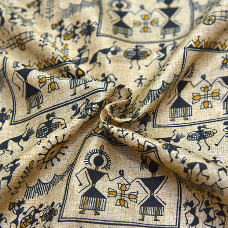 Black and Yellow Warli Pattern On Cream Kalamkari Manipuri Silk-16090