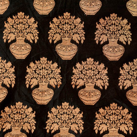 Black and large golden circle shape brocade silk fabric-4633