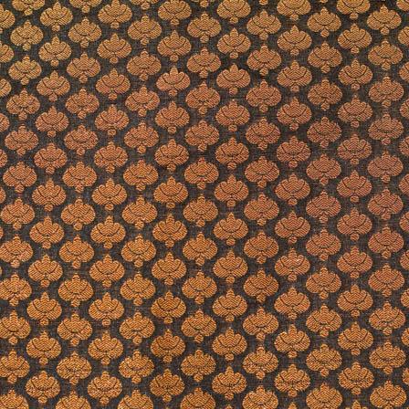 Black and small golden flower shape brocade silk fabric-4651