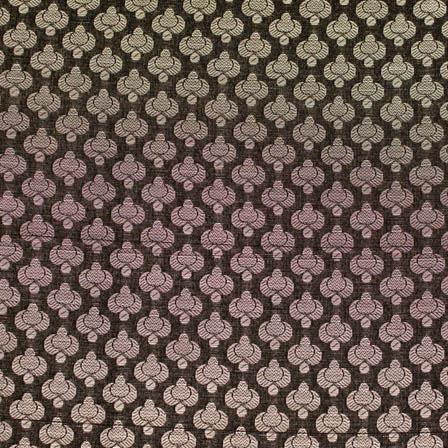 Black and small silver flower shape brocade silk fabric-4659