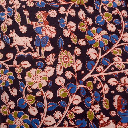 Black-blue and white forest print kalamkari fabric-5175