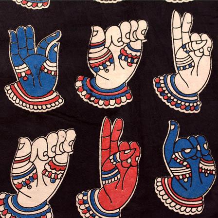 Black-white-blue and red large hand cotton kalamkari fabric 4531