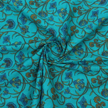 Bllue Mustard Block Print Cotton Fabric-14884