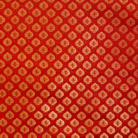 Blood Red and Golden Floral Brocade Silk Fabric by the yard