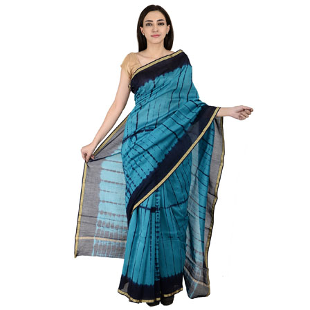Blue Cotton Shibori Print Chanderi Saree-20148