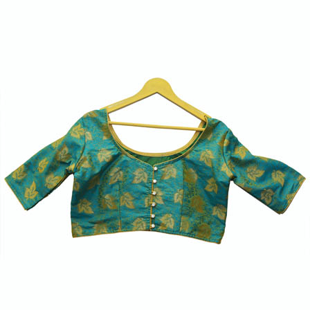 Blue and Golden Leaf Silk Brocade Blouse-30134