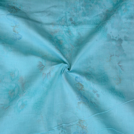 Blue Tie Dye Print Glazed Cotton Fabric-15211