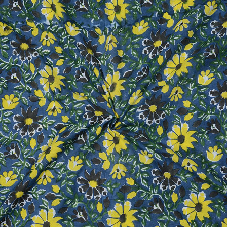 Blue Yellow Block Print Cotton Fabric-14732