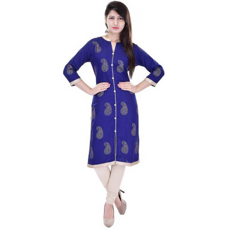 Blue 3/4 Sleeve Gold and Rubber Print Rayon Kurti-3114