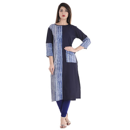 Blue 3/4 Sleeve Half Printed and Solid  Rayon Kurti-3105