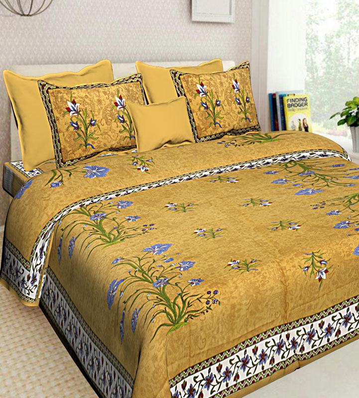 Blue Beige Cotton Jaipuri Bedsheet-644