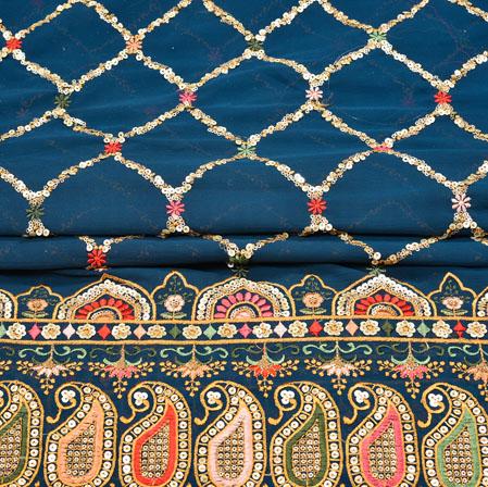 Blue Beige Square Panel Work Georgette Silk Fabric-19219