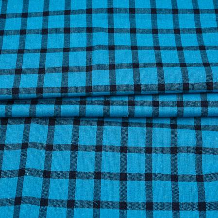 Blue Black Checks Cotton Handloom Fabric-42207