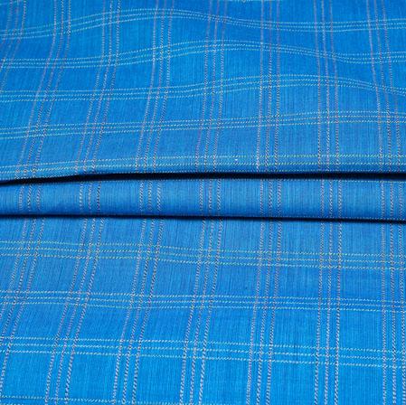 Blue Black Checks Handloom Cotton Fabric-42461