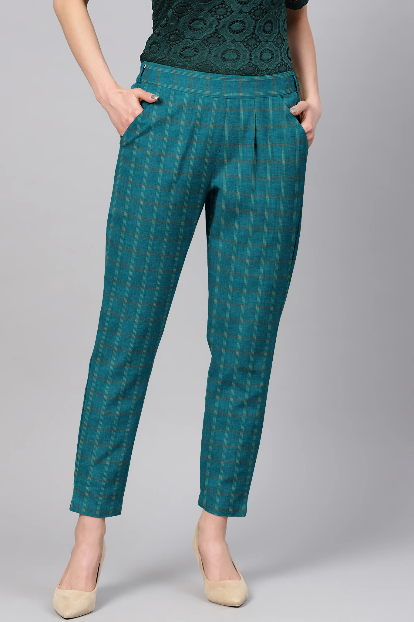 Blue Black Cotton Check Regular Fit Solid Trouser-36068