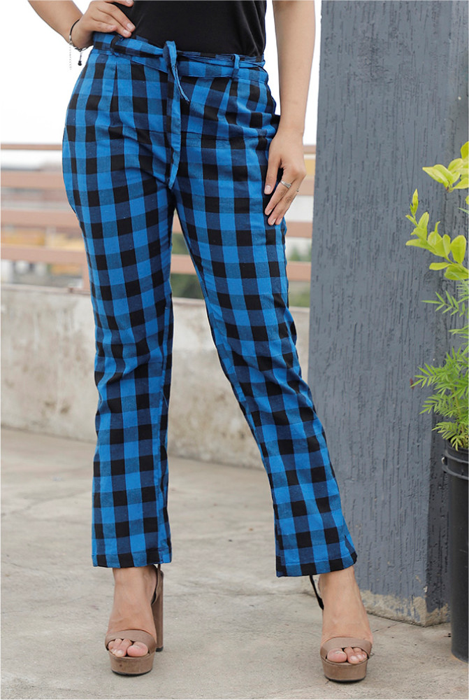 Blue Black Handloom Cotton Checks Narrow Pant with Belt-33886