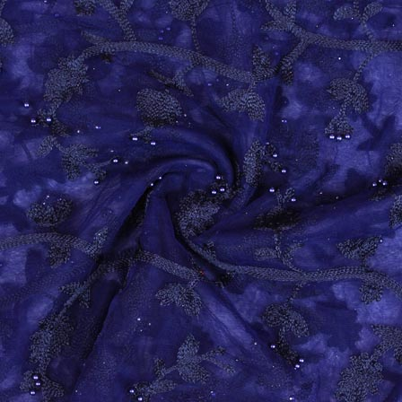 Blue Black Pearl Embroidery Net Fabric-60987