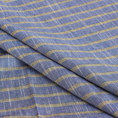 Blue Black Stripe Handloom Cotton Fabric-40906
