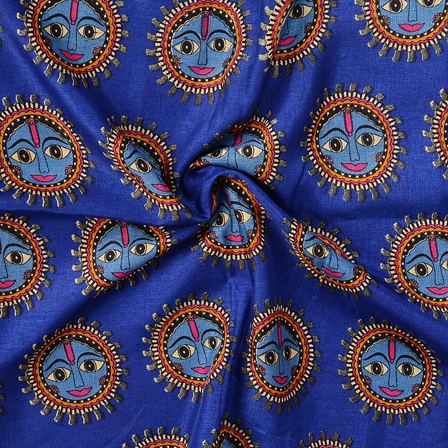 Blue-Black and Pink Durga Devi Face Pattern Manipuri Kalamkari Silk Fabric-16173