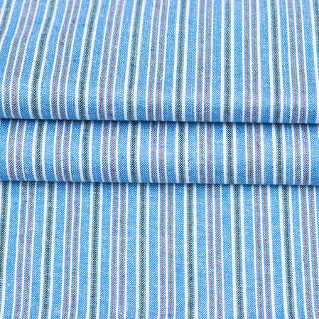 Blue Black and Pink Stripe Handloom Cotton Fabric-42583