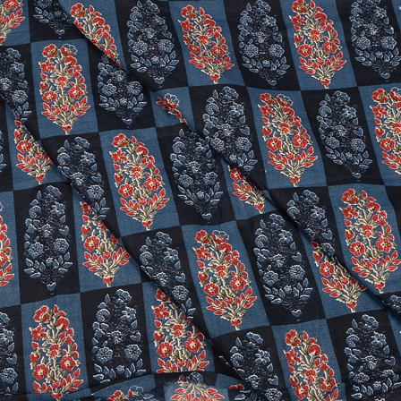 Blue-Black and Red Floral Design Hand Block Muslin Fabric-20019