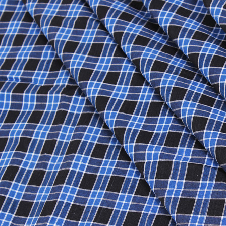 Blue-Black and White Checks Handloom Cotton Fabric-40048