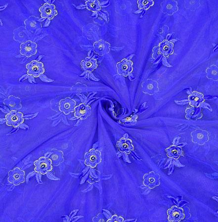 Blue Blue Flower Net Embroidery Fabric-19142
