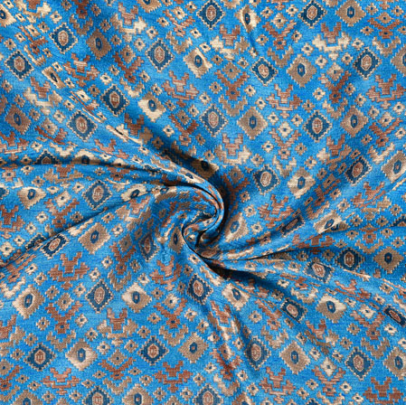 Blue Brown Brocade Silk Floral Fabric-12973
