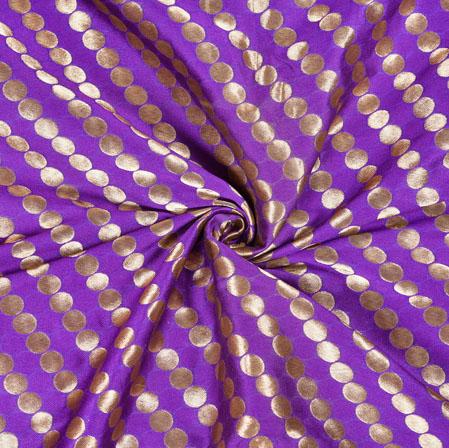 Blue Brown Brocade Silk Leheria Fabric-12969