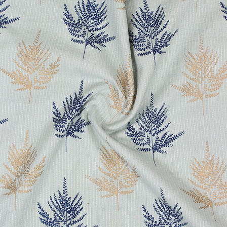 Blue Brown Kantha tree Print Cotton Fabric-15130