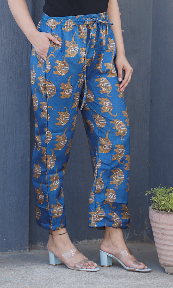Blue Brown Manipuri Silk Elephant Palazzo Pant-34485