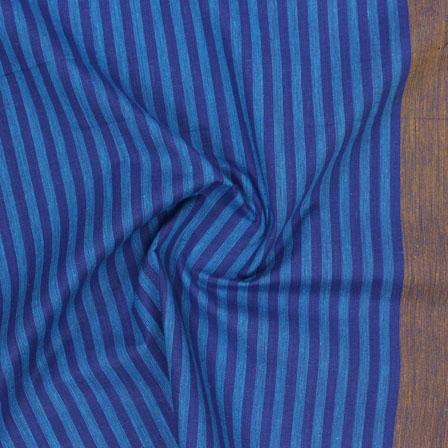Blue Brown Striped Handloom Khadi Cotton Fabric-40719