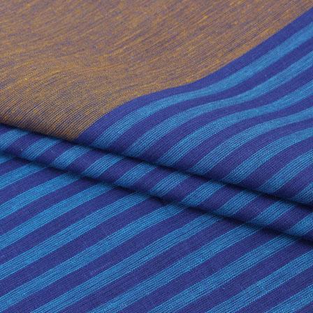 Cotton Shirt (2.25 Meter)-Blue Brown Striped Handloom-140719
