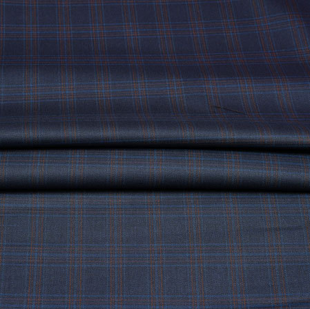 Blue Brown Checks Wool Fabric-90250