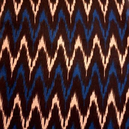 Blue-Brown and Beige Zig-Zag Design Kalamkari-Screen Fabric-5487